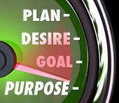 pic of desire  - Purpose word on a speedometer or gauge with needle rising past Plan - JPG