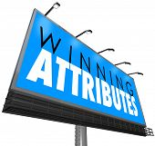 stock photo of character traits  - Winning Attributes words on a billboard - JPG
