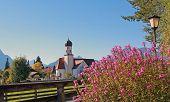 picture of piety  - picturesque alpine village and church wallgau bavarian landscape  - JPG