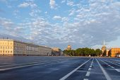 image of winter palace  - Petersburg. Palace Square in front of the Winter Palace in the early morning. ** Note: Soft Focus at 100%, best at smaller sizes - JPG