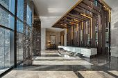 pic of reception-area  - Reception area of a sales office on a sunny day - JPG