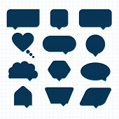 stock photo of parallelogram  - Assorted empty round corner silhouette speech bubble icons set - JPG