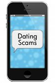 picture of hookup  - Dating Scams Mobile Phone with words Dating Scams in Text Bubble isolated on a white background - JPG