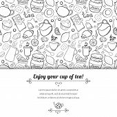 foto of black tea  - Tea and sweets black and white vector background in doodle style with place for text - JPG