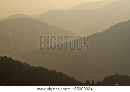 foggy and misty landscape, Vosges, france