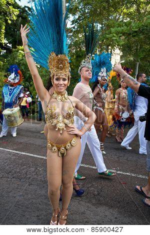 Brazilian dancer at the Carnaval International de Victoria in Seychelles