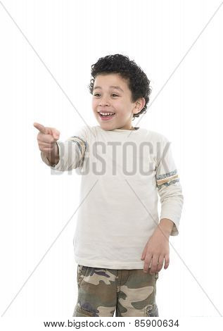Smiling Boy Pointing