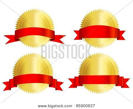Gold Seal And Red Ribbon Banner