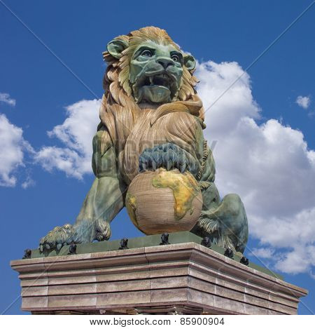 Lion Statue similar to the one in Madrid, Spain.