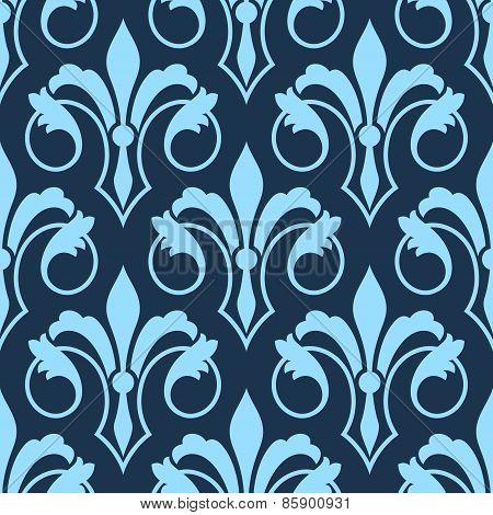 Stylized scrolling seamless Fleur de Lys pattern