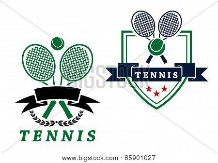 Heraldic tennis emblems or badges