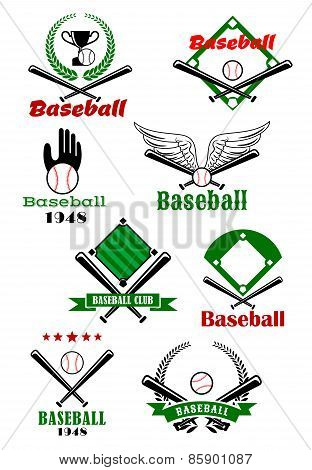 Baseball game sporting emblems and symbols