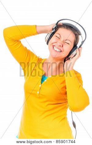 Music Fan Girl In Headphones On A White Background