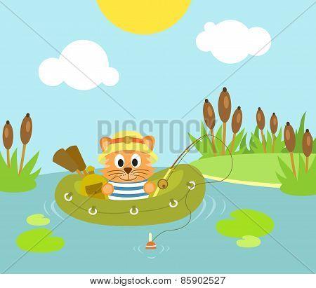 Background cat fishing on the lake