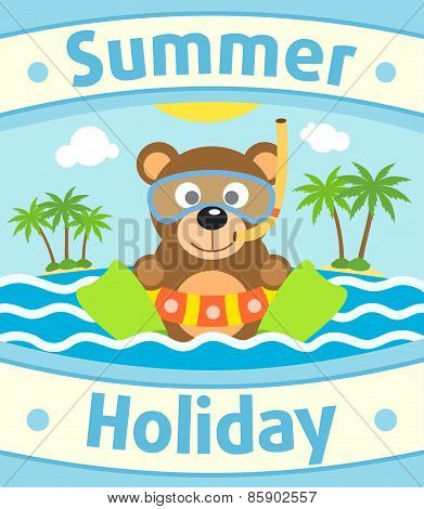 Summer sea background with bear