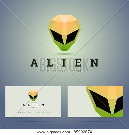 Logo and business card template with polygonal alien head sign.
