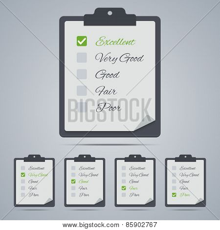 Set of evaluation clipboards in flat style.