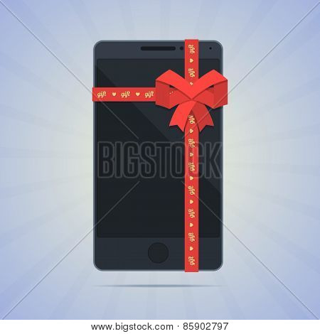 Wrapped smartphone with red ribbon and text gift.
