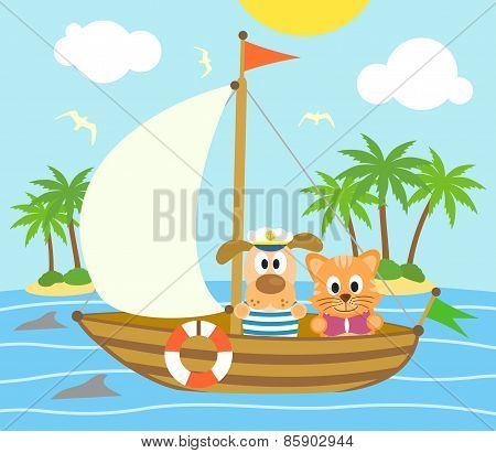 Summer background with dog and cat on a boat