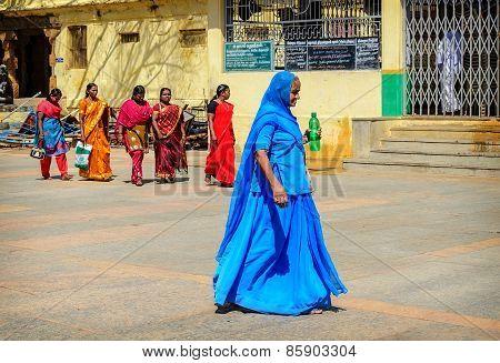Group Of Indian Woman In Beautiful Sari Going