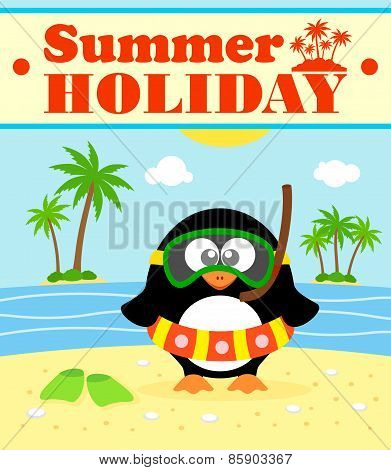 Summer holiday background with penguin