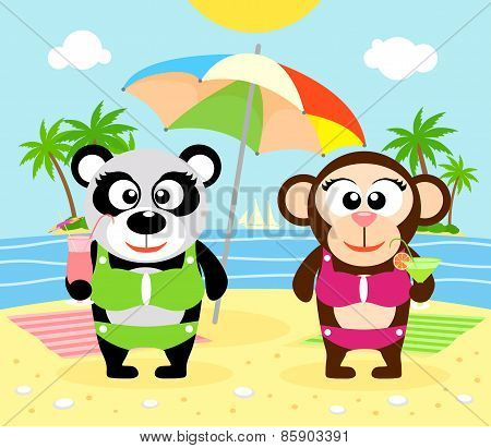 Summer  background with monkey and panda
