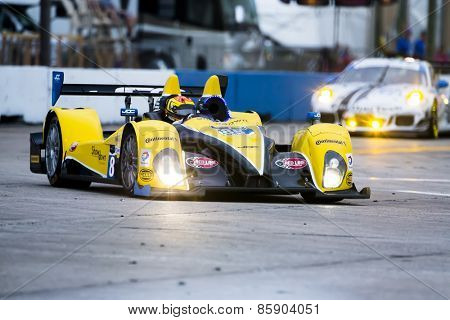Sebring, FL - Mar 19, 2015:  The JDC Miller Motorsport ORECA FlM09 Chevrolet races through the turns at 12 Hours of Sebring at Sebring Raceway in Sebring, FL.
