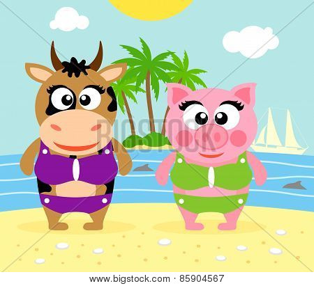 Summer  Background With Cow And Pig
