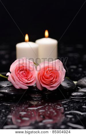 Two pink rose with candle and therapy stones