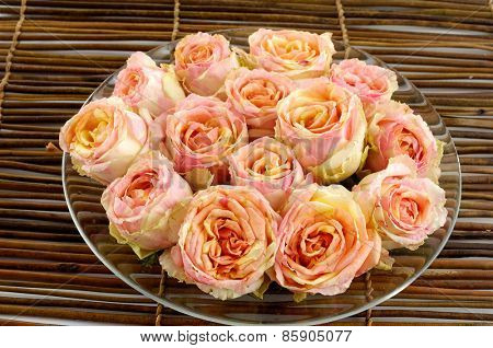 Set of many rose in plate on mat