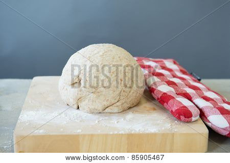 Rising bread dough in ball form