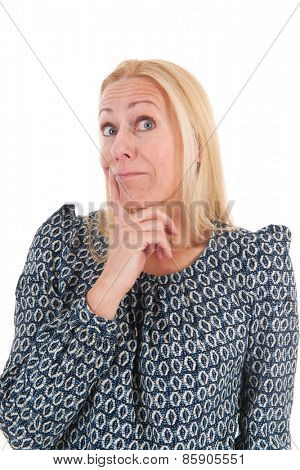 Blond woman of mature age surprised isolated over white background