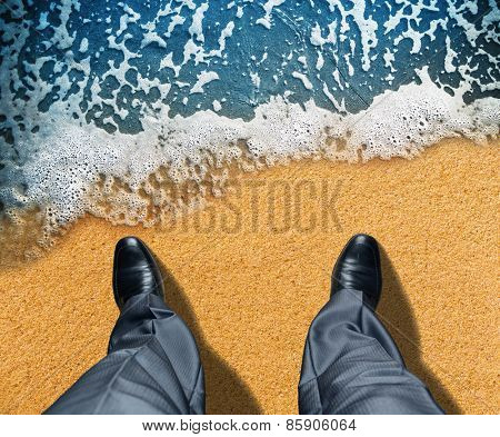 Businessman near the sea