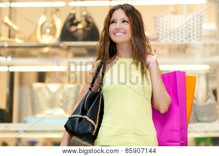 Young woman in a shopping center