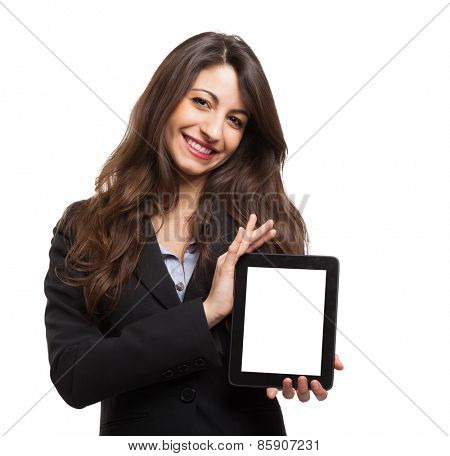 Woman holding a digital tablet