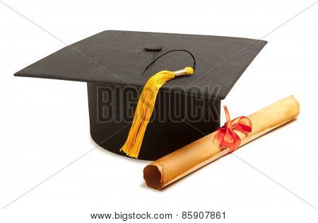 Gortarboard and graduation scroll, isolated on white