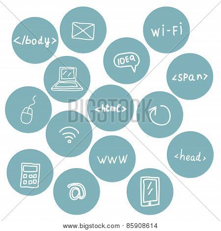 Stock vector set of web icons