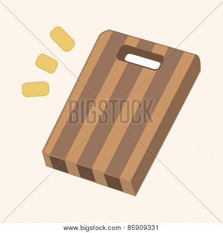 Kitchenware Chopping Board And Knife Theme Elements Vector,eps