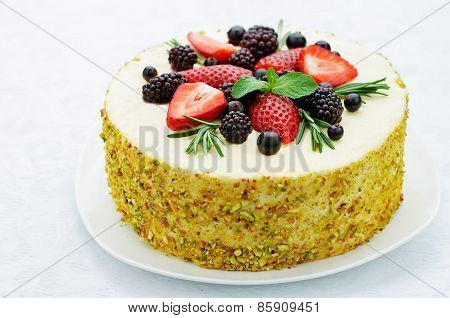 Pistachio Cake With Berry Compote And Rosemary Mousse
