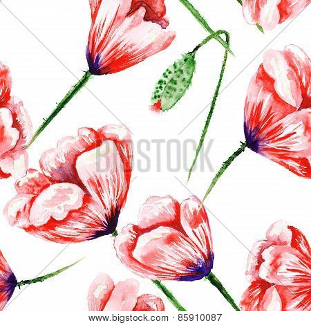 Red hand-painted poppy pattern