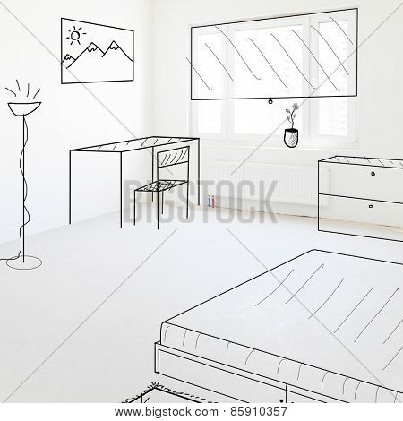 plan of new empty apartment