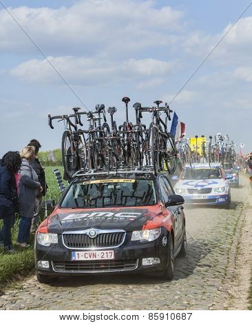 The Car Of Bmc Racing Team On The Roads Of Paris Roubaix Cycling Race
