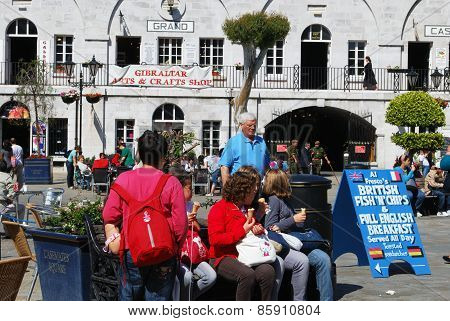 Tourists in Grand Casemates Square, Gibraltar.