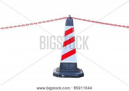 Isolated Red-white Traffic Cone And Chain For Restricted Area