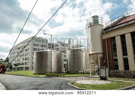 Industrial silos in a factory