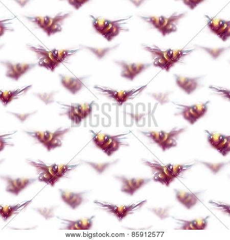 Vector seamless pattern with set of bees