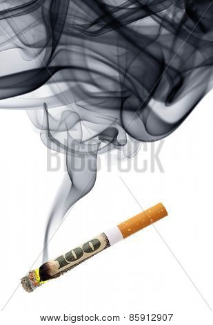 Money for smoke - cigarette stub with smoke isolated over the white background
