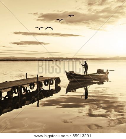traditional fisherman in his boat