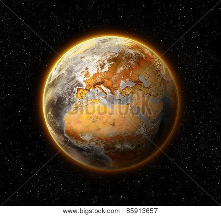 dead and barren world, concept of global warming,