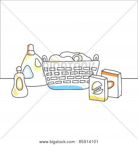 Laundry basket, detergents, vector illustration